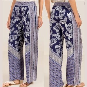 Milly Tie Waist Floral Palazzo Pants | francesca's